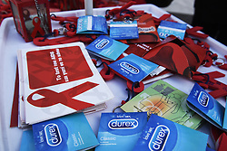 December 1, 2018 - Thessaloniki, Greece - The Hellenic Centre for Diseases Control and Prevention organised an Informative event due to World AIDS Day 2018, in order to raise awareness of the AIDS pandemic caused by the spread of HIV infection. (Credit Image: © Giannis Papanikos/ZUMA Wire)