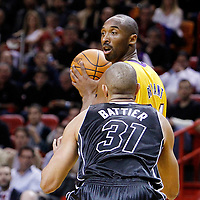 19 January 2012: Los Angeles Lakers shooting guard Kobe Bryant (24) looks for a teammate during the Miami Heat 98-87 victory over the Los Angeles Lakers at the AmericanAirlines Arena, Miami, Florida, USA.