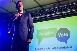 London, UK. 15th January, 2019. Peter Kyle, Labour MP for Hove, addresses pro-EU activists attending a People's Vote rally in Parliament Square as MPs vote in the House of Commons on Prime Minister Theresa May's proposed final Brexit withdrawal agreement.