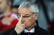 Leicester city  manager Claudio Ranieri looks on ahead of k/o. Barclays Premier league match, Swansea city v Leicester city at the Liberty Stadium in Swansea, South Wales on Saturday 5th December 2015.<br /> pic by  Andrew Orchard, Andrew Orchard sports photography.
