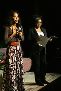 l to r: Sade Lythcott and Shirley Faison at the Dr. Barbara Ann Teer's Institute of Action Arts launch for the 41st  Communication Arts Program Symposium held at The National Black Theater in Harlem, NY on March 27, 2009