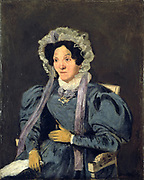 Madame Corot, Mother of the Artist' c1845. Jean-Baptiste Camille Corot (1796-1875) French artist, leading painter of the Barbizon School.   Seated woman in blue dress, lace bonnet with lilac ribbons, gloved hands.