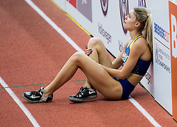 Yuliya Levchenko of Ukraine reacts during the High Jump Women Final on day two of the 2017 European Athletics Indoor Championships at the Kombank Arena on March 4, 2017 in Belgrade, Serbia. Photo by Vid Ponikvar / Sportida