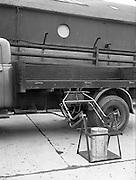 "19/02/1953<br /> 02/19/1953<br /> 19 February 1953<br /> Demonstration at McCairns Motors Ltd., Alexandra Road Dublin of new truck attachment the ""Tele Hoist"" for loading lorries."