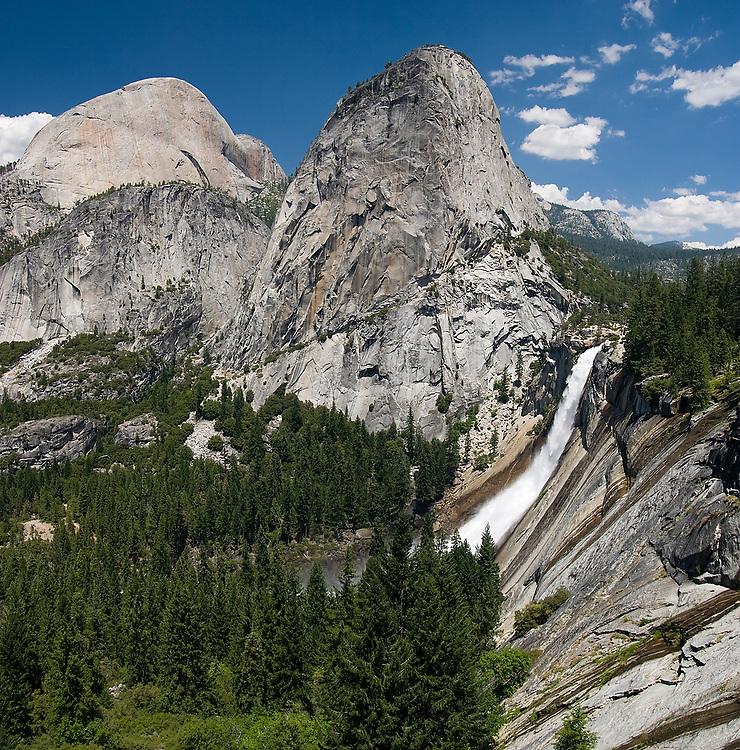 Nevada Falls and Liberty Cap, Yosemite National Park, California.