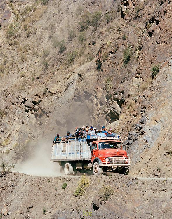 Truck carrying miners from the Potosi Mine, Potosi, Eastern Cordillera, Bolivia