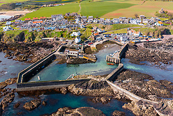 Aerial view from drone ot St Abbs in Scottish Borders, Scotland, UK