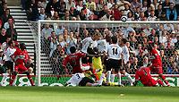 Fotball<br /> England 2005/2006<br /> Foto: SBI/Digitalsport<br /> NORWAY ONLY<br /> <br /> Middlesbrough v Liverpool<br /> Barclaycard Premiership.<br /> 13/08/2005.<br /> <br /> Middlesbrough's Ugo Ehiogu (#4) fires over the bar.