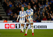 Huddersfield Town's Thomas Ince disagrees with a decision by Referee Roger East during the Premier League match between Huddersfield Town and West Bromwich Albion at the John Smiths Stadium, Huddersfield, England on 4 November 2017. Photo by Paul Thompson.