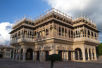 Jaipur City Palace was once the seat of the Maharaja of Jaipur.  Within the palace complex, the Chandra Mahal palace is now the site of a museum. The city palace complex has a vast array of courtyards and gardens. The architects achieved a fusion of Rajput, Mughal and European styles of architecture.