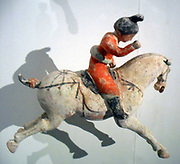 Polo player. 8th century, Tang dynasty (618-907 AD) ceramic from China
