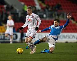 St Johnstone's Paul Paton tackles Ross County's Michael Gardyne. St Johnstone 2 v 4 Ross County. SPFL Ladbrokes Premiership game played 19/11/2016 at St Johnstone's home ground, McDiarmid Park.