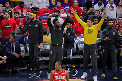 May 6, 2018 - New Orleans, LA, U.S. - NEW ORLEANS, LA - MAY 06:  Golden State Warriors bench reacts to a play during game 4 of the NBA Western Conference Semifinals at Smoothie King Center in New Orleans, LA on May 06, 2018.  (Photo by Stephen Lew/Icon Sportswire) (Credit Image: © Stephen Lew/Icon SMI via ZUMA Press)