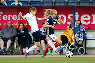 Fiona Brown (#20) of Scotland takes on Elvira Urazaeva (#8) of Belarus during the FIFA Women's World Cup UEFA Qualifier match between Scotland Women and Belarus Women at Falkirk Stadium, Falkirk, Scotland on 7 June 2018. Picture by Craig Doyle.