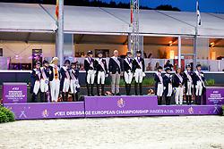 Team Germany, Richter Ellen, Rothenberger Semmieke, Lindner Ann-Kathrin,<br /> European Championship Dressage - Hagen 2021<br /> © Hippo Foto - Dirk Caremans<br /> 08/09/2021