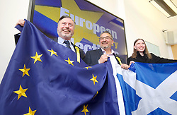 SNP candidates Alyn Smith, Christian Allard and Aileen McLeod celebrate winning seats to the European Parliament. pic copyright Terry Murden @edinburghelitemedia