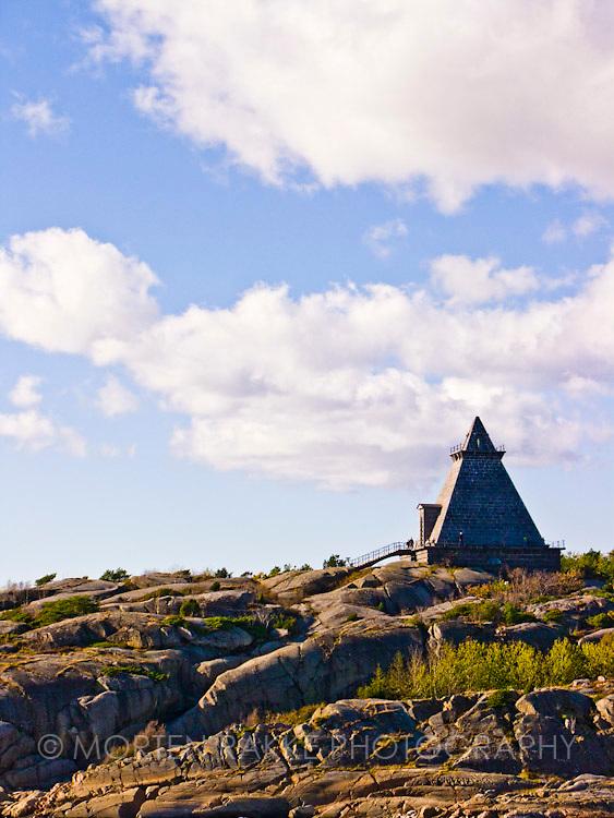Stavern, Norway, Minnehallen. Structure on a rocky hillock