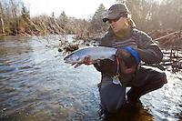 male fly angler displays a chrome bright steelhead, Salmon River, New York