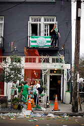 12 March 2016. New Orleans, Louisiana.<br /> After the parade. A store on  Magazine Street following the Irish Channel St Patrick's Day parade.<br /> Photo©; Charlie Varley/varleypix.com