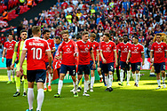 York City get ready to walk up the stairs to receive the trophy during the FA Trophy match between Macclesfield Town and York City at Wembley Stadium, London, England on 21 May 2017. Photo by Simon Davies.