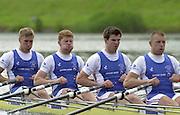 2002 FISA World Cup. Hazewinkel. BEL.       Friday  14/06/2002     .email images@Intersport-images.com.[Mandatory Credit: Peter Spurrier/Intersport Images]  .                                 /06/2002.Rowing    .GBR. M4X. bow. Peter Gardener. Matt Wells, Simon Cottle and Ian Lawson stroke. Rowing, FISA WC.Hazenwinkel, BEL