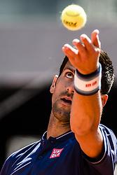 May 13, 2017 - Madrid, Madrid, Spain - NOVAK DJOKOVIC (SRB) serves the ball against Rafael Nadal (ESP) in the semi-final of the 'Mutua Madrid Open' 2017. Nadal won 6:2, 6:4 (Credit Image: © Matthias Oesterle via ZUMA Wire)