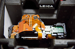 SOLMS, GERMANY - MAY-18-2009 - The guts of a pre-production Leica S2 camera sit on an engineers table at the Leica factory in Solms, Germany. (Photo © Jock Fistick)