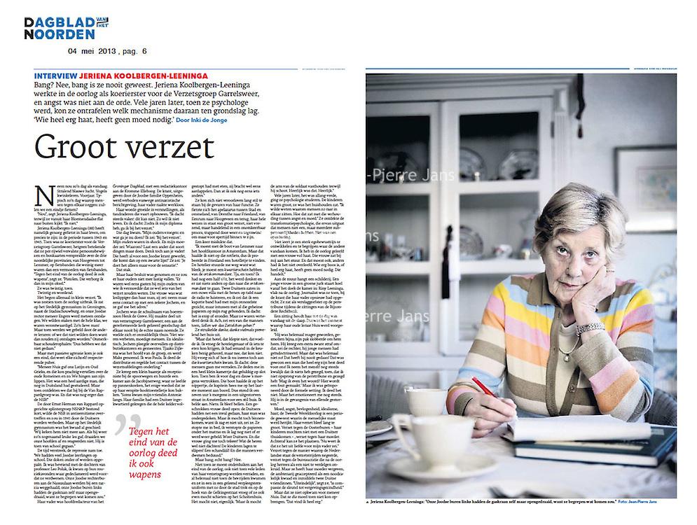 Dagblad van het Noorden 4 mei 2013: verzetsvrouw Jeriena Koolsbergen-Leninga