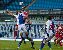 BLACKBURN, ENGLAND - Saturday, January 16, 2021: Stoke City's Nick Powell scores the first goal with a header during the Football League Championship match between Blackburn Rovers FC and Stoke City FC at Ewood Park. The game ended in a 1-1 draw. (Pic by David Rawcliffe/Propaganda)