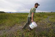 Student Biologist Kyle Tidwell studies Oregon Spotted Frog (Rana pretiosa) in Conboy Lake National Wildlife Refuge, Washington. © Michael Durham / www.DurmPhoto.com