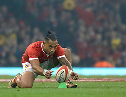 Sonatane Takulua of Tonga lines up a kick at goal<br /> <br /> Photographer Simon King/Replay Images<br /> <br /> Under Armour Series - Wales v Tonga - Saturday 17th November 2018 - Principality Stadium - Cardiff<br /> <br /> World Copyright © Replay Images . All rights reserved. info@replayimages.co.uk - http://replayimages.co.uk