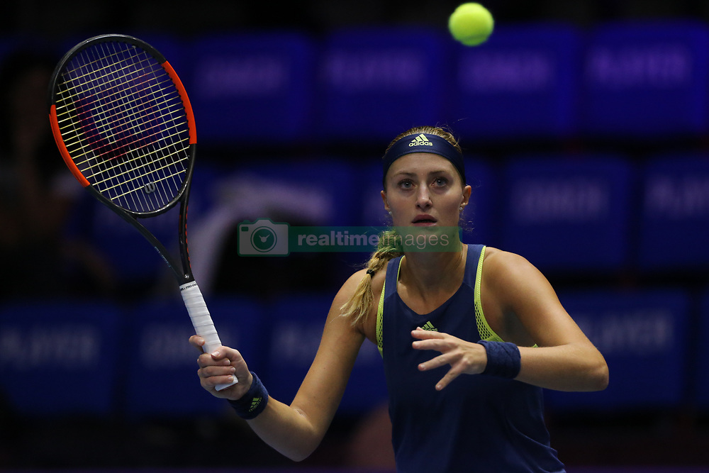 February 3, 2018 - Saint Petersburg, Russia - Kristina Mladenovic of France returns the ball to Daria Kasatkina of Russia during the St. Petersburg Ladies Trophy ATP tennis tournament semi final match in St. Petersburg  (Credit Image: © Igor Russak/NurPhoto via ZUMA Press)