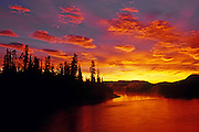 dawn on Dezadeash River and boreal forest<br /> Haines Junction<br /> Yukon<br /> Canada