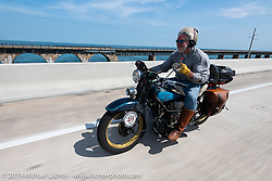 Frank Westfall riding his 1930 Henderson KJ in the Cross Country Chase motorcycle endurance run from Sault Sainte Marie, MI to Key West, FL. (for vintage bikes from 1930-1948). Stage-10 covered 110 miles from Miami to the finish in Key West, FL USA. Sunday, September 15, 2019. Photography ©2019 Michael Lichter.
