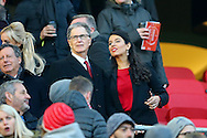Liverpool Principal Owner John W Henry and his wife Linda Pizzuti  take their seats in the directors box ahead of k/o. Premier League match, Liverpool v Sunderland at the Anfield stadium in Liverpool, Merseyside on Saturday 26th November 2016.<br /> pic by Chris Stading, Andrew Orchard sports photography.