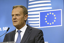 April 29, 2017 - Brussels, Belgium - European Council President DONALD TUSK speaks after an EU summit meeting concerning Brexit at the European Union headquarters in Brussels. (Credit Image: © Nicolas Maeterlinck/Belga via ZUMA Press)