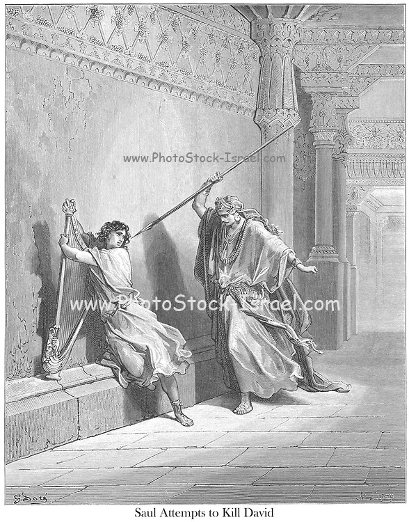 Saul Attempts to kill David 1 Samuel 18:11-12 From the book 'Bible Gallery' Illustrated by Gustave Dore with Memoir of Dore and Descriptive Letter-press by Talbot W. Chambers D.D. Published by Cassell & Company Limited in London and simultaneously by Mame in Tours, France in 1866