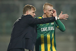 (L-R) coach Fons Groenendijk of ADO Den Haag, Lex Immers of ADO Den Haag during the Dutch Eredivisie match between ADO Den Haag and NAC Breda at Cars Jeans stadium on March 10, 2018 in The Hague, The Netherlands