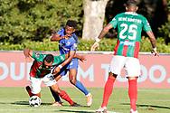 Mateo Cassierra applies pressure on Lucas Áfrico during the Liga NOS match between Belenenses SAD and Maritimo at Estadio do Jamor, Lisbon, Portugal on 17 April 2021.