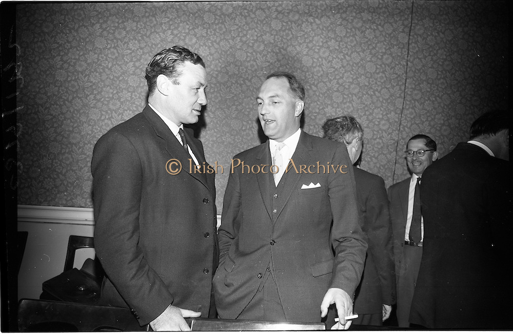 02/06/1964 <br /> 06/02/1964<br /> 02 June 1964<br /> Council of Europe working party meeting opens in Leinster House, Dublin. the two day meeting of the working party on relations with national parliaments of the Consultative Assembly of the Council of Europe was opened by Mr George Colley T.D., Chairman of the Irish Parliamentary Delegation to Strasburg. Picture shows Mr Henry M. Clark M.P. (North Antrim), United Kingdom Delegate, chatting with Mr George Colley T.D. Chairman of the Irish Parliamentary Delegation to the Consultative Assembly of the Council of Europe, prior to the meeting.