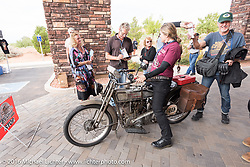 Cris Sommer Simmons of Hawaii at the finish line with her 1915 Harley-Davidson in Page during the Motorcycle Cannonball Race of the Century. Stage-11 ride from Durango, CO to Page, AZ. USA. Wednesday September 21, 2016. Photography ©2016 Michael Lichter.