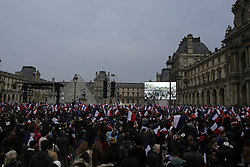 May 7, 2017 - Paris, Ile-de-France, France - Supporters of Emmanuel Macron, the independent Presidential candidate from the movement En Marche, celebrated the exit polls. (Credit Image: © Michael Debets/Pacific Press via ZUMA Wire)