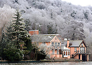 © Licensed to London News Pictures. 12/12/2012. Henley, UK Houses surrounded by frosty trees on the River Thames. Frosty weather around Henley today 12 December 2012. Fog and ice has caused disruption around the country.  Photo credit : Stephen Simpson/LNP