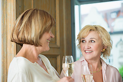 Women having chat and holding glass of sparkling wine, smiling