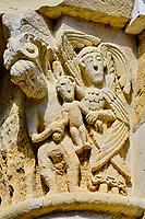 France, Loiret (45), Val de Loire classé Patrimoine Mondial de l'UNESCO, Saint-Benoît-sur-Loire, abbaye bénédictine de Saint-Benoît-sur-Loire, abbaye de Fleury, chapiteau sculpté dans la tour-porche // France, Loiret (45), Loire Valley listed as World Heritage by UNESCO, Saint-Benoît-sur-Loire, Benedictine abbey of Saint-Benoît-sur-Loire, Fleury abbey