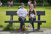 NO FEE PICTURES<br /> 19/5/18 Hundreds of people of all ages lapped up the summer sunshine when they came out to support an important cause which is close to many of their hearts, organ donation, by taking part in the Irish Kidney Association's 'Run for a Life' family fun run which took place at Corkagh Park, Clondalkin, Dublin 22 on Saturday 19th May.   (www.runforalife.ie) Pictured Carine Maher and Sharon Doran, Carlow. Picture:Arthur Carron