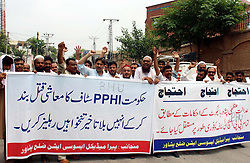 July 31, 2017 - Pakistan - PESHAWAR, PAKISTAN, JUL 31: Members of Paramedical Staff Association are holding .protest demonstration for acceptance of their demands, at Peshawar press club on Monday, July .31, 2017. (Credit Image: © PPI via ZUMA Wire)