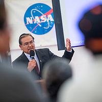 091813       Cable Hoover<br /> <br /> University president Elmer Guy speaks to a crowd in the NASA Traveling Space Museum at Navajo Technical University in Crownpoint Wednesday.