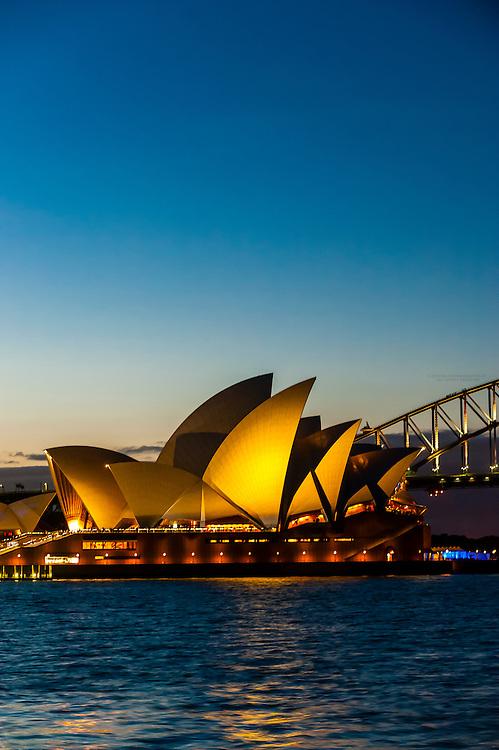 Twilight view of the Sydney Opera House, Sydney, New South Wales, Australia