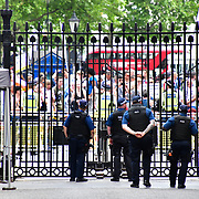 Protestors continue to protest until Boris Johnson confirms the delayed lockdown until July 19 outside Downing street on 14th June 2021, London, UK.